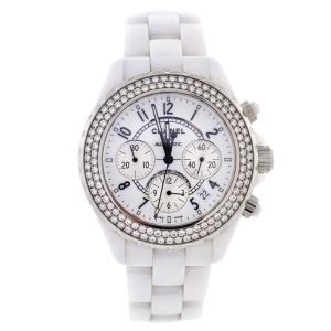 Chanel White Ceramic and Diamond J12 Automatic Chronograph Wristwatch $5,995
