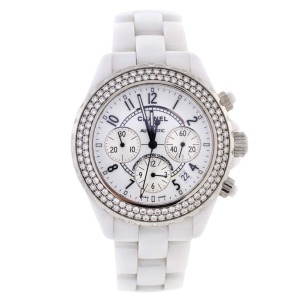 Chanel White Ceramic and Diamond J12 Automatic Chronograph Wristwatch $5,995