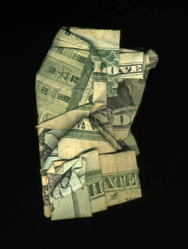 "Money art ""Love and Hate"" by Dan Tague"